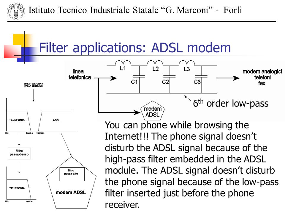 Istituto Tecnico Industriale Statale G. Marconi - Forlì Filter applications: ADSL modem 6 th order low-pass You can phone while browsing the Internet!