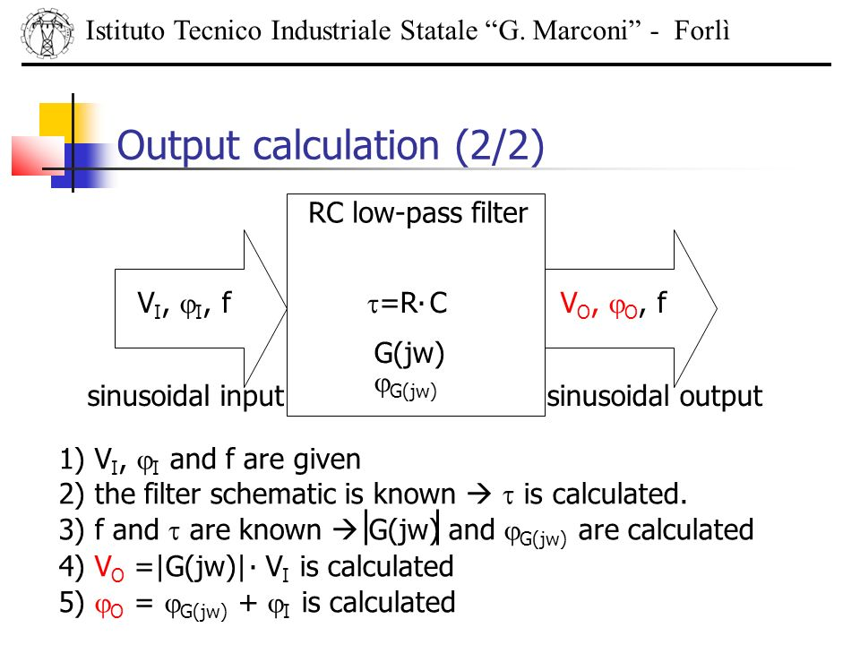 Output calculation (2/2) Istituto Tecnico Industriale Statale G. Marconi - Forlì. V I, I, f RC low-pass filter =R CV O, O, f sinusoidal inputsinusoida