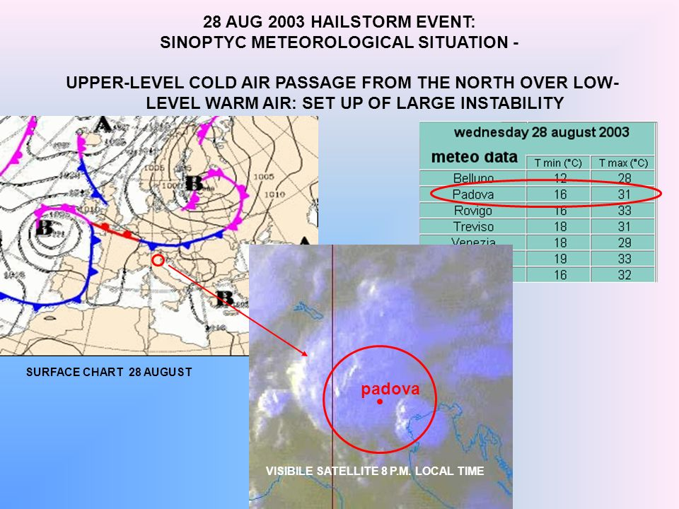 UPPER-LEVEL COLD AIR PASSAGE FROM THE NORTH OVER LOW- LEVEL WARM AIR: SET UP OF LARGE INSTABILITY SURFACE CHART 28 AUGUST 28 AUG 2003 HAILSTORM EVENT: SINOPTYC METEOROLOGICAL SITUATION - VISIBILE SATELLITE 8 P.M.