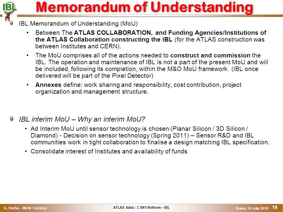 ATLAS Italia / CSN1 Referee – IBL G. Darbo – INFN / Genova Roma, 14 July 2010 19 Memorandum of Understanding IBL Memorandum of Understanding (MoU) Bet