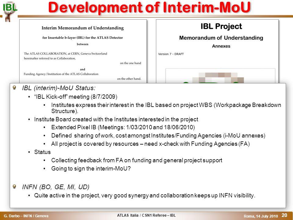 ATLAS Italia / CSN1 Referee – IBL G. Darbo – INFN / Genova Roma, 14 July 2010 20 Development of Interim-MoU IBL (interim)-MoU Status: IBL Kick-off mee