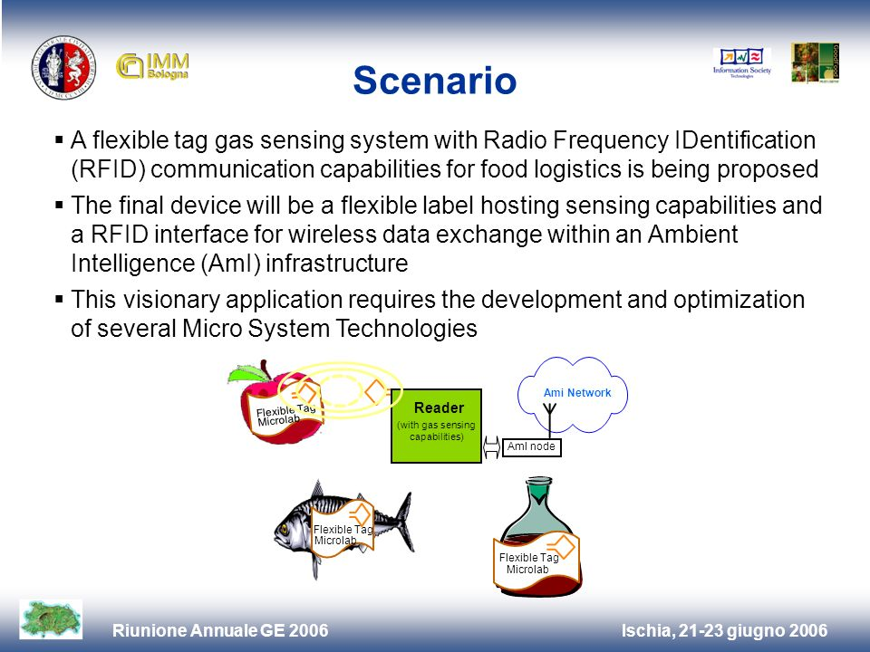 Ischia, 21-23 giugno 2006Riunione Annuale GE 2006 Scenario A flexible tag gas sensing system with Radio Frequency IDentification (RFID) communication