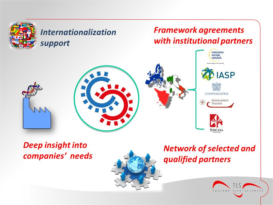 Internationalization support Deep insight into companies needs Network of selected and qualified partners Framework agreements with institutional part