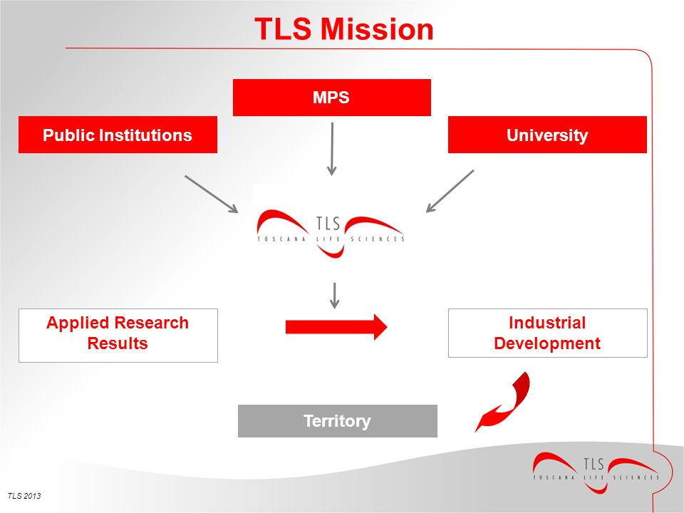 TLS 2013 TLS Mission Public Institutions MPS University Applied Research Results Industrial Development Territory