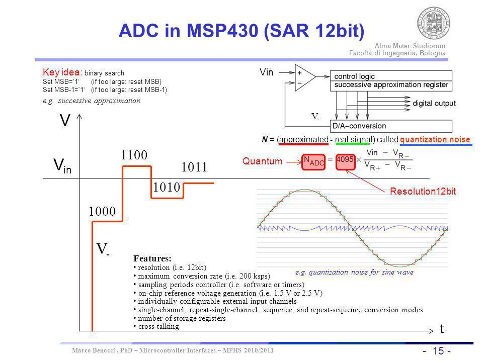 - 15 - Universität Dortmund Alma Mater Studiorum Facoltà di Ingegneria, Bologna Marco Benocci, PhD – Microcontroller Interfaces – MPHS 2010/2011 ADC i