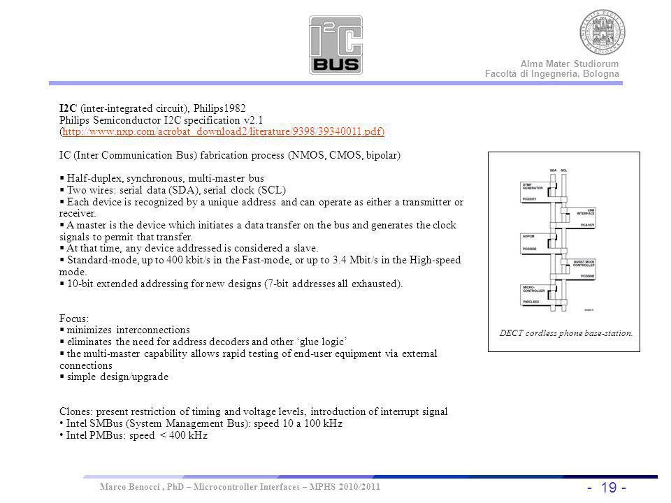 - 19 - Universität Dortmund Alma Mater Studiorum Facoltà di Ingegneria, Bologna Marco Benocci, PhD – Microcontroller Interfaces – MPHS 2010/2011 I2C I