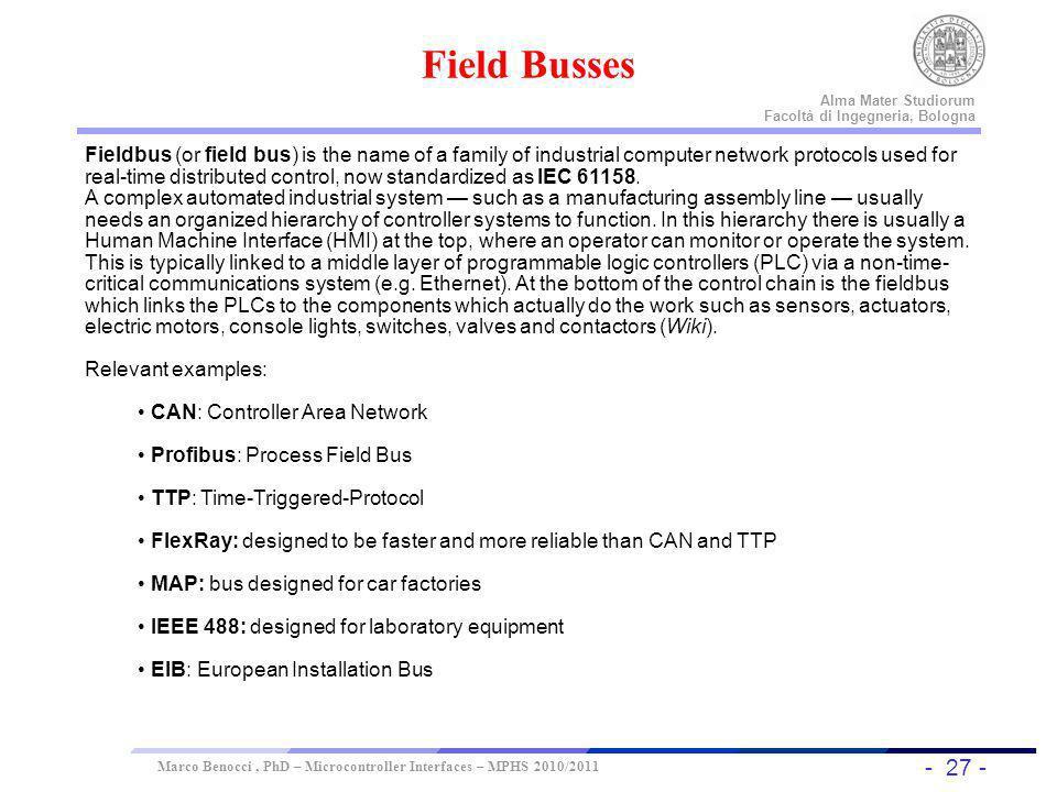 - 27 - Universität Dortmund Alma Mater Studiorum Facoltà di Ingegneria, Bologna Marco Benocci, PhD – Microcontroller Interfaces – MPHS 2010/2011 Field