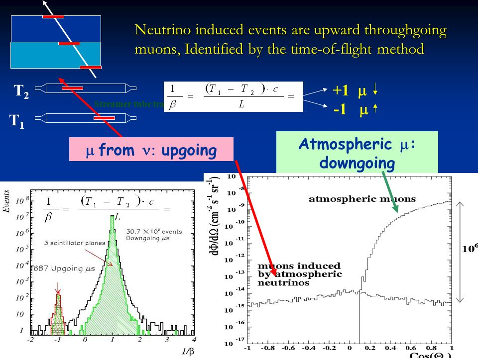 +1 T1T1 T2T2 Streamer tube track Neutrino induced events are upward throughgoing muons, Identified by the time-of-flight method Atmospheric : downgoing from upgoing
