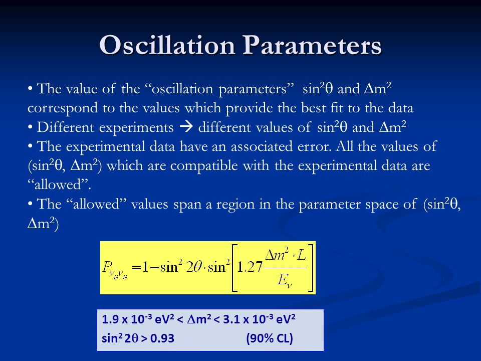 Oscillation Parameters The value of the oscillation parameters sin 2 and m 2 correspond to the values which provide the best fit to the data Different experiments different values of sin 2 and m 2 The experimental data have an associated error.