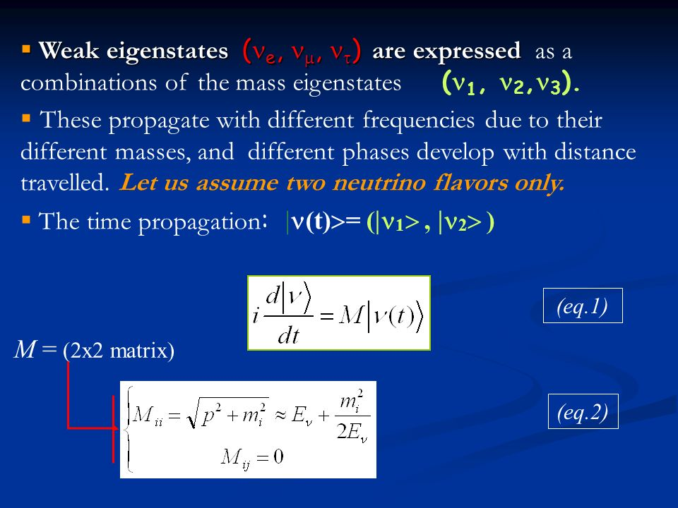 Weak eigenstates ( e,, ) are expressed Weak eigenstates ( e,, ) are expressed as a combinations of the mass eigenstates ( 1, 2, 3 ).