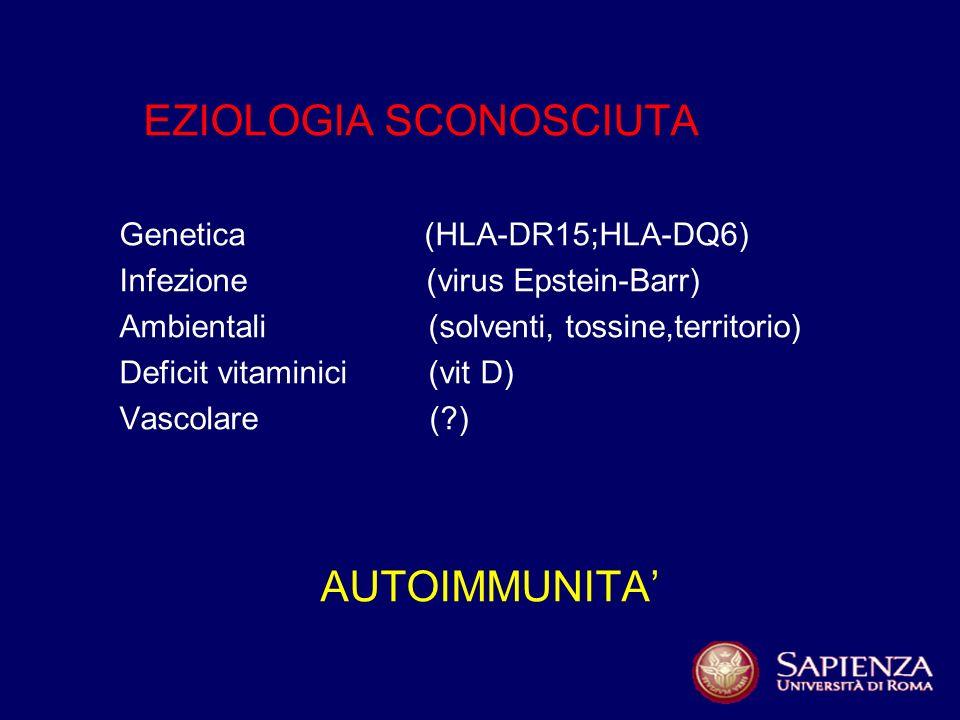EZIOLOGIA SCONOSCIUTA Genetica (HLA-DR15;HLA-DQ6) Infezione (virus Epstein-Barr) Ambientali (solventi, tossine,territorio) Deficit vitaminici (vit D) Vascolare ( ) AUTOIMMUNITA