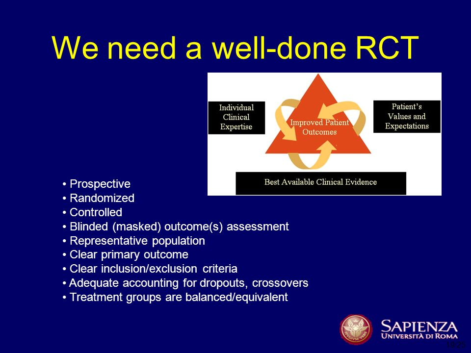 We need a well-done RCT Prospective Randomized Controlled Blinded (masked) outcome(s) assessment Representative population Clear primary outcome Clear inclusion/exclusion criteria Adequate accounting for dropouts, crossovers Treatment groups are balanced/equivalent 19/25