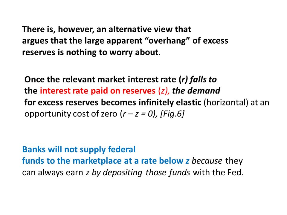 There is, however, an alternative view that argues that the large apparent overhang of excess reserves is nothing to worry about. Banks will not suppl