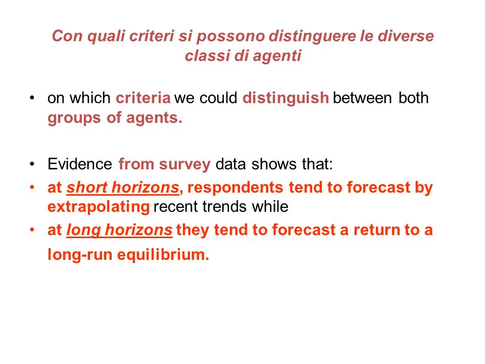 on which criteria we could distinguish between both groups of agents.