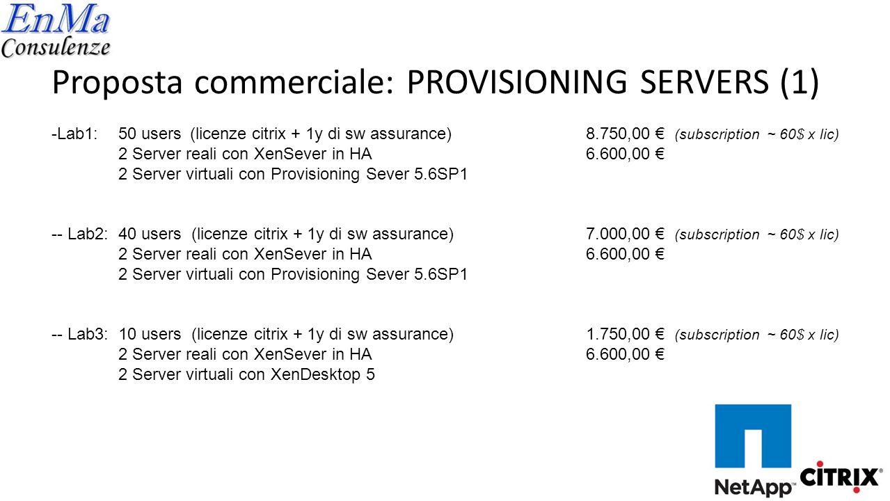 Proposta commerciale: PROVISIONING SERVERS (2) 6 x Server Reali: DELL Server rack 1U PowerEdge R410 Processore: Processori 2x Intel Xeon E5506 Memoria: 24GB DDR3 1333MHz Sistemi operativi - Opzioni di virtualizzazione: Citrix ® XenServer ® HDD: 2x 146GB, SAS 3Gbps 15kRPM (hot plug) Controller RAID: PERC H200A Controller di rete: 6x Broadcom NetXtreme II 1GbE Alimentazione: Ridondante 500 W