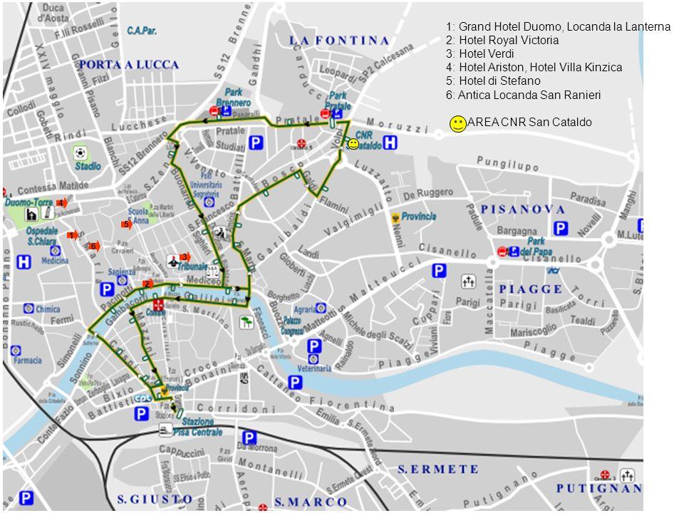 1 2 3 4 1: Grand Hotel Duomo, Locanda la Lanterna 2: Hotel Royal Victoria 3: Hotel Verdi 4: Hotel Ariston, Hotel Villa Kinzica 5: Hotel di Stefano 6: