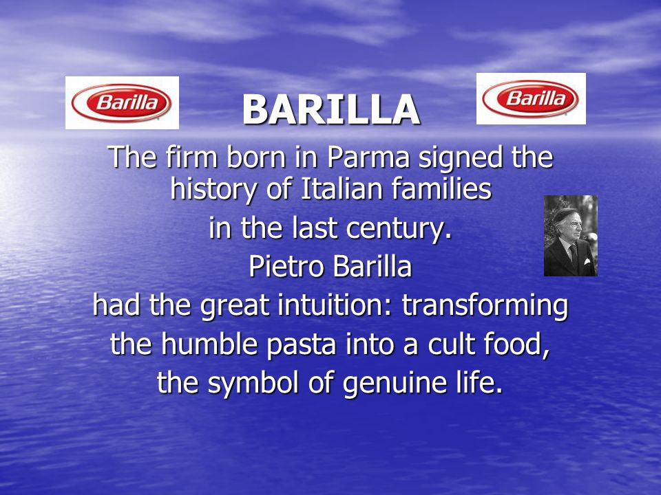 Le origini, 130 anni fa In 1877 Pietro Barilla opens his first bakery in Parma, the land of mills and wheat.