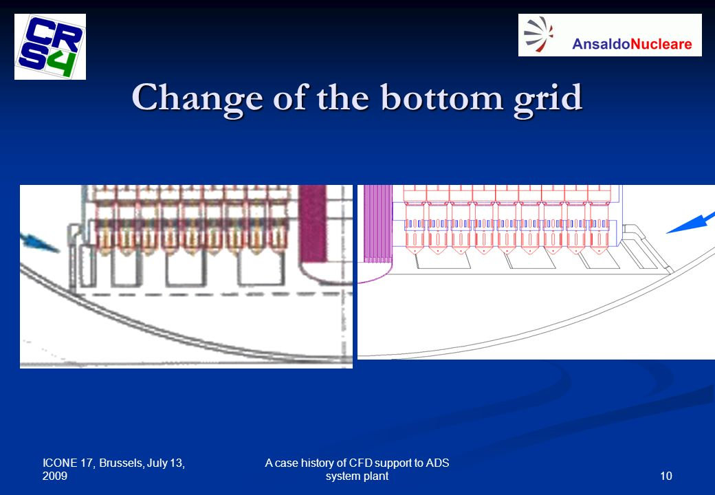 ICONE 17, Brussels, July 13, 2009 10 A case history of CFD support to ADS system plant Change of the bottom grid