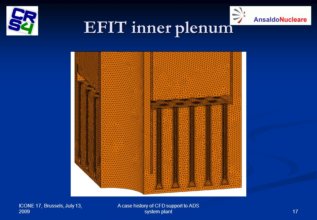 ICONE 17, Brussels, July 13, 2009 17 A case history of CFD support to ADS system plant EFIT inner plenum