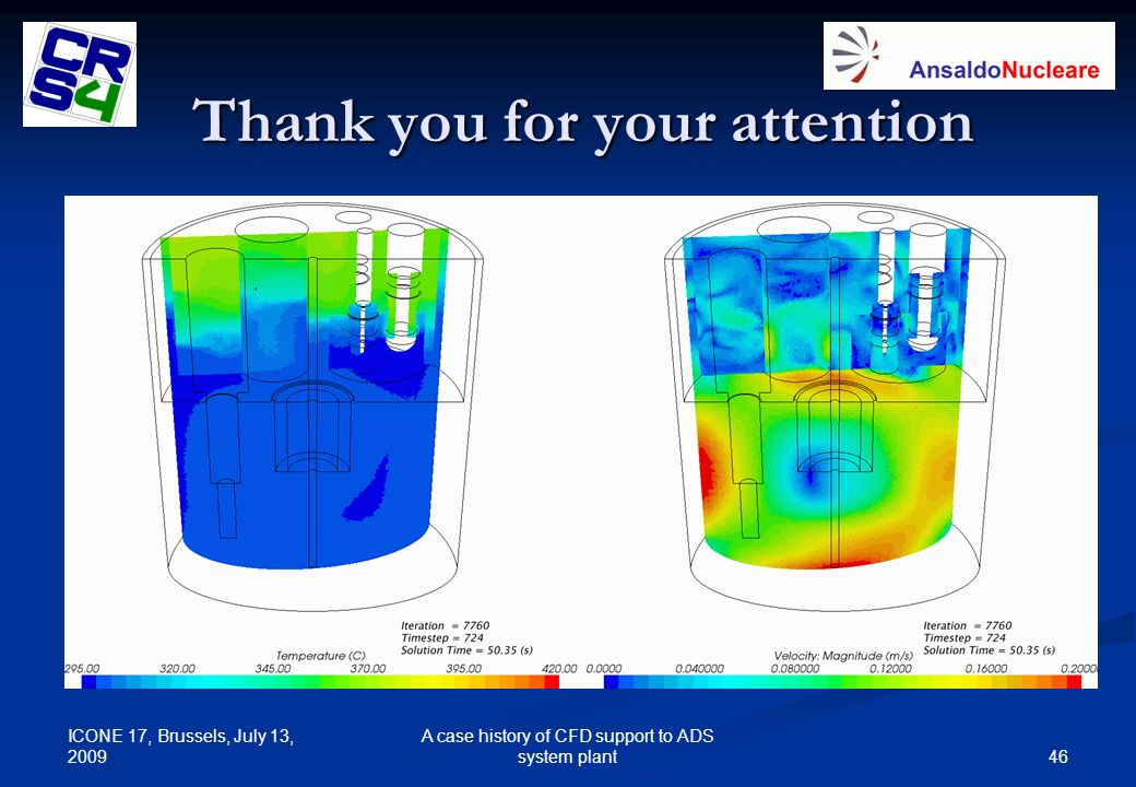 ICONE 17, Brussels, July 13, 2009 46 A case history of CFD support to ADS system plant Thank you for your attention