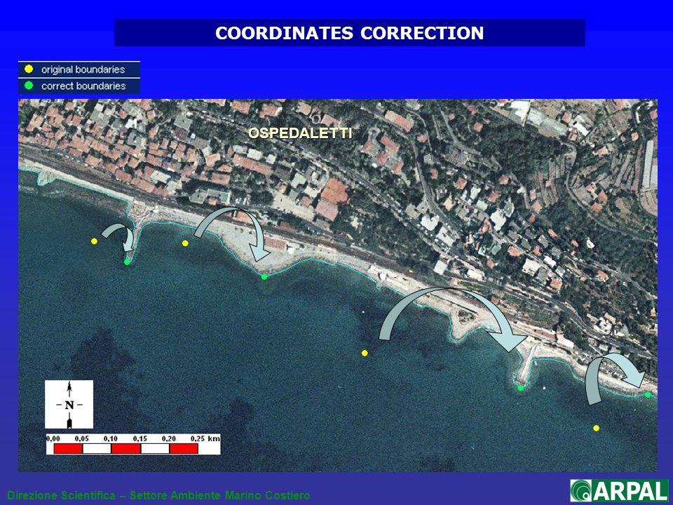 Direzione Scientifica – Settore Ambiente Marino Costiero COORDINATES CORRECTION OSPEDALETTI