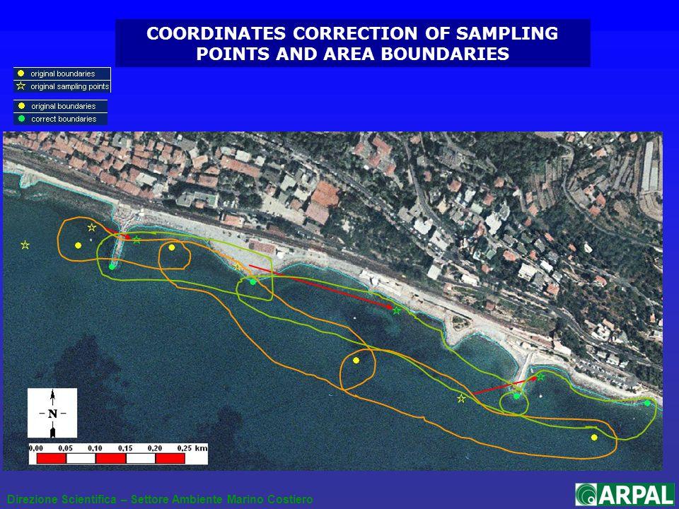 Direzione Scientifica – Settore Ambiente Marino Costiero COORDINATES CORRECTION OF SAMPLING POINTS AND AREA BOUNDARIES