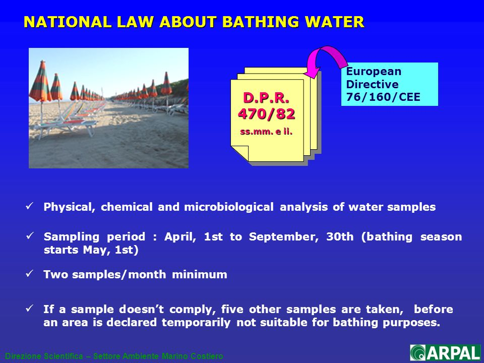 D.P.R. 470/82 ss.mm. e ii. European Directive 76/160/CEE NATIONAL LAW ABOUT BATHING WATER Physical, chemical and microbiological analysis of water sam