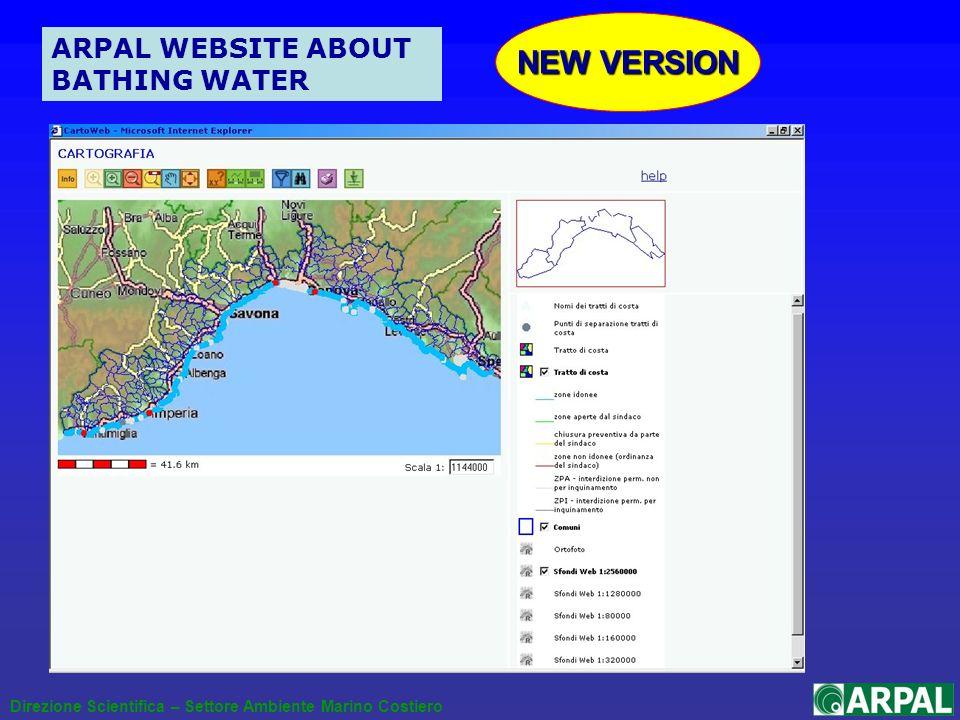 Direzione Scientifica – Settore Ambiente Marino Costiero ARPAL WEBSITE ABOUT BATHING WATER NEW VERSION