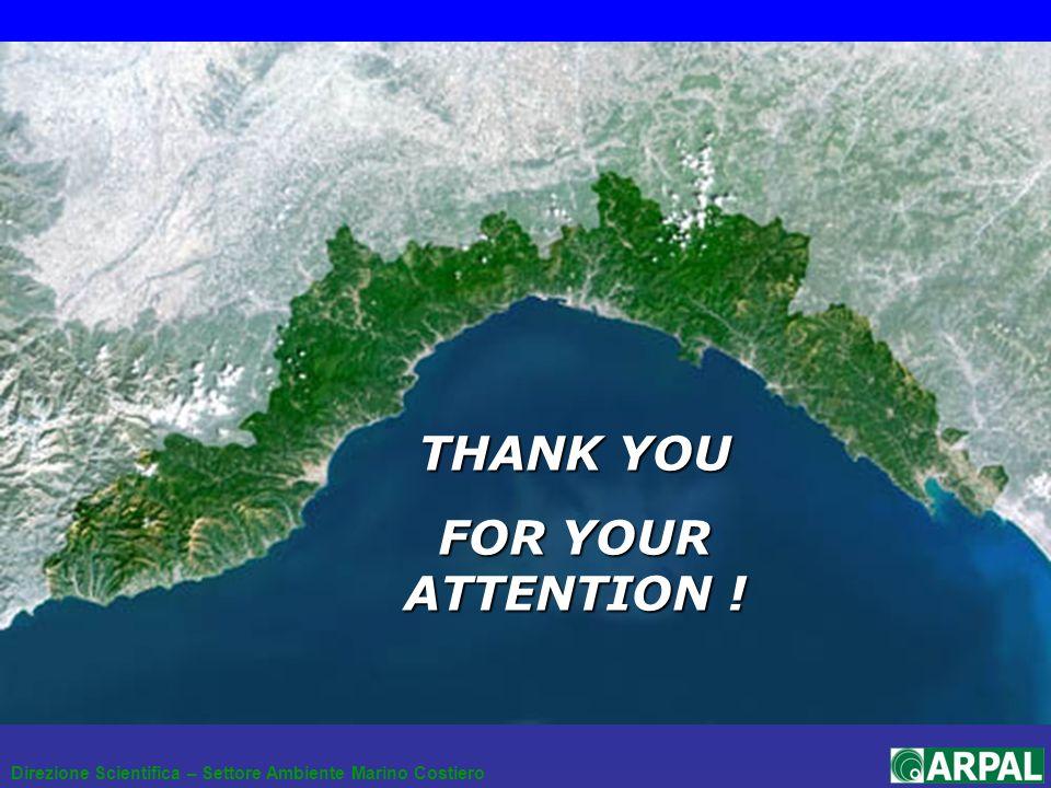 Direzione Scientifica – Settore Ambiente Marino Costiero THANK YOU FOR YOUR ATTENTION !