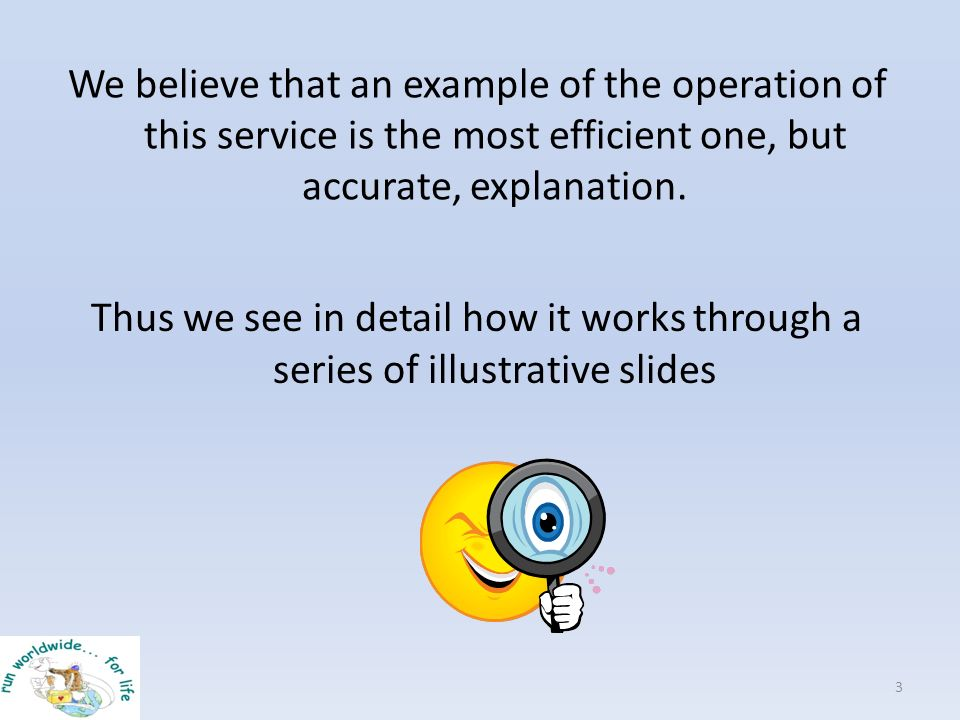 We believe that an example of the operation of this service is the most efficient one, but accurate, explanation. 3 Thus we see in detail how it works