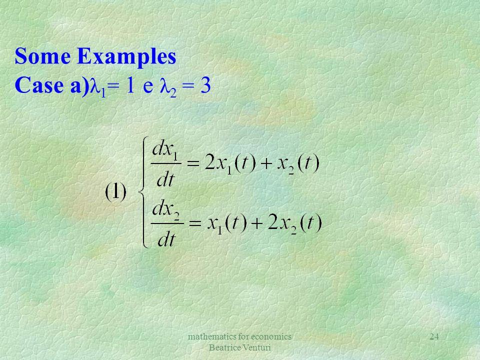 mathematics for economics Beatrice Venturi 24 Some Examples Case a) λ 1 = 1 e λ 2 = 3