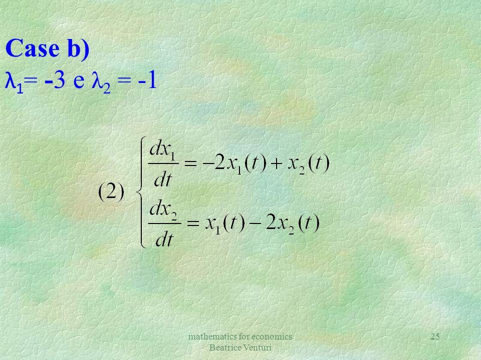 mathematics for economics Beatrice Venturi 25 Case b) λ 1 = -3 e λ 2 = -1