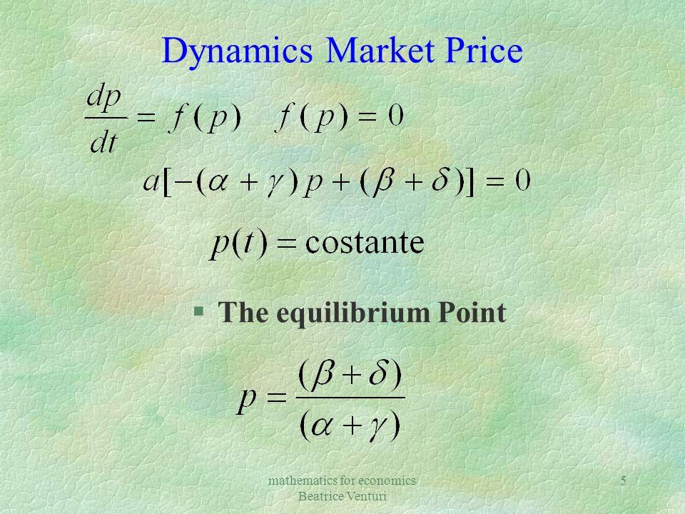mathematics for economics Beatrice Venturi 5 Dynamics Market Price §The equilibrium Point