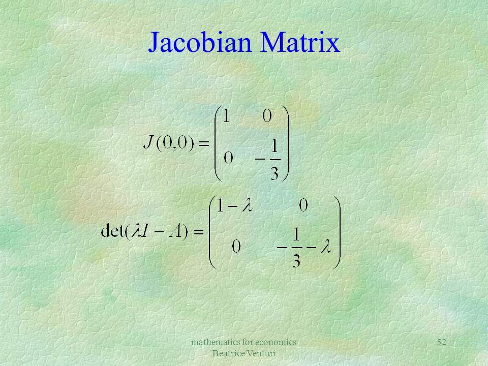 mathematics for economics Beatrice Venturi 52 Jacobian Matrix