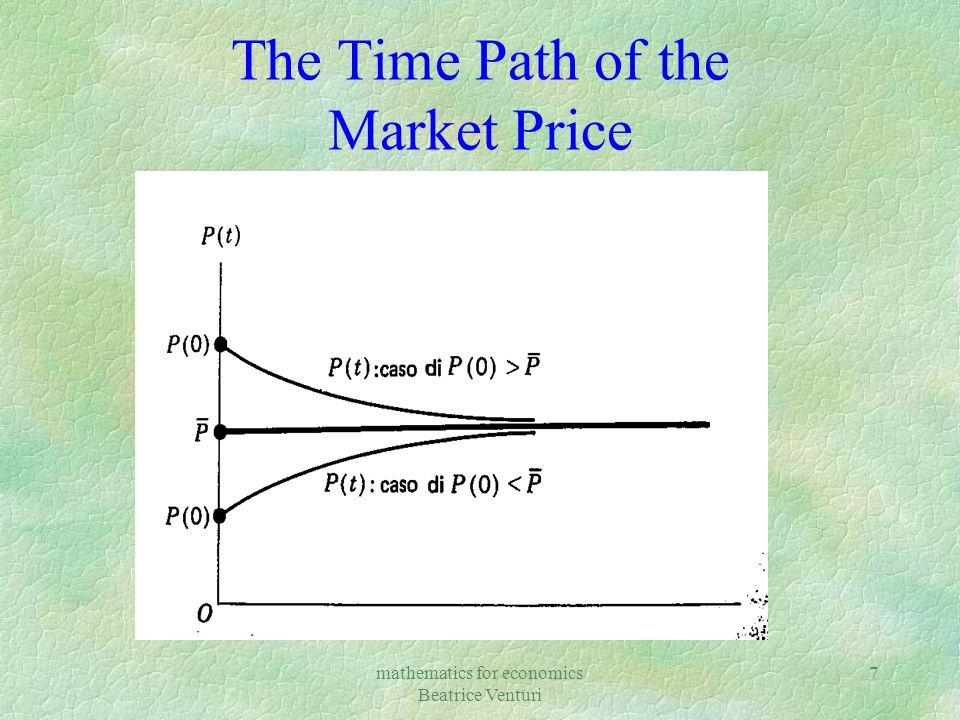 mathematics for economics Beatrice Venturi 7 The Time Path of the Market Price