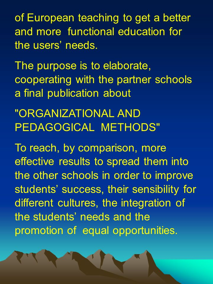 Sintesi-1 Projects synthesis The aim of the project is, by the exchange of experiences and information between national and european schools, to work out, execute and verify the management strategies in order to organize the human and material resources (including new technologies) and pedagogical methods.