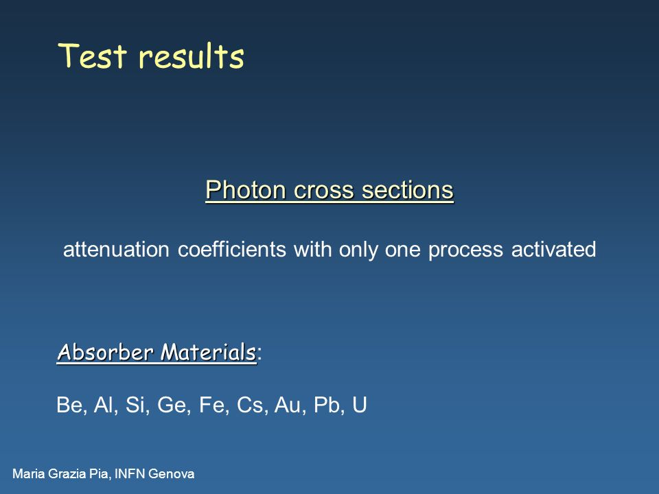 Maria Grazia Pia, INFN Genova Test results Absorber Materials Absorber Materials : Be, Al, Si, Ge, Fe, Cs, Au, Pb, U Photon cross sections attenuation