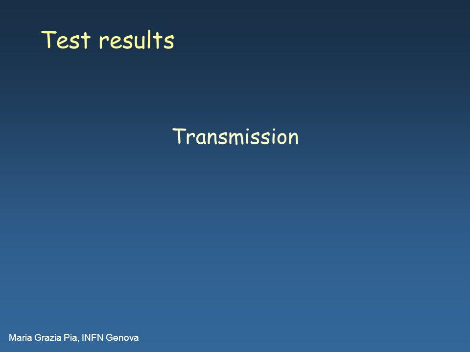 Maria Grazia Pia, INFN Genova Test results Transmission