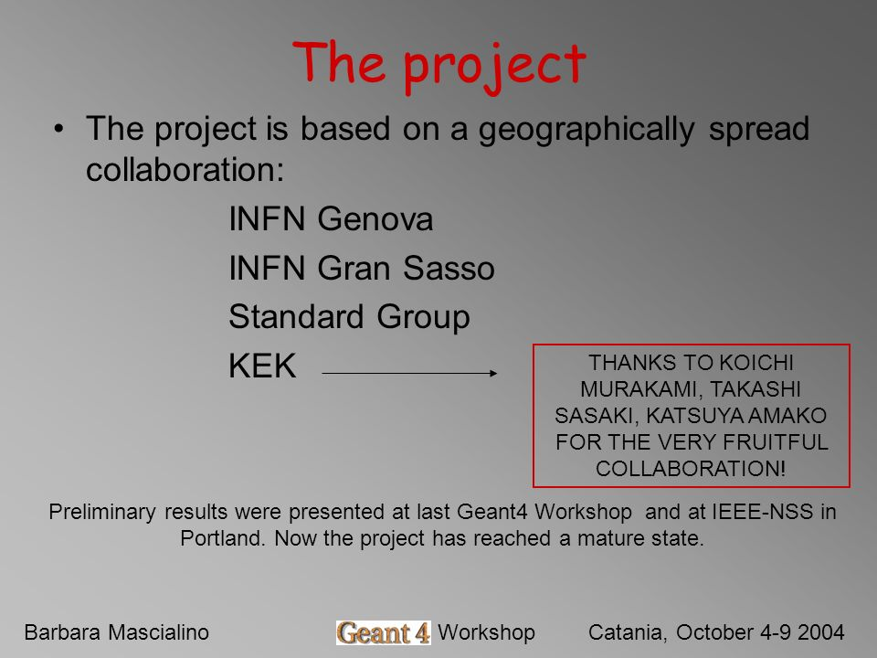Barbara MascialinoGeant4 WorkshopCatania, October 4-9 2004 The project The project is based on a geographically spread collaboration: INFN Genova INFN