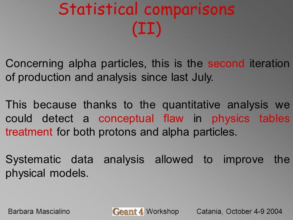 Barbara MascialinoGeant4 WorkshopCatania, October 4-9 2004 Statistical comparisons (II) Concerning alpha particles, this is the second iteration of production and analysis since last July.