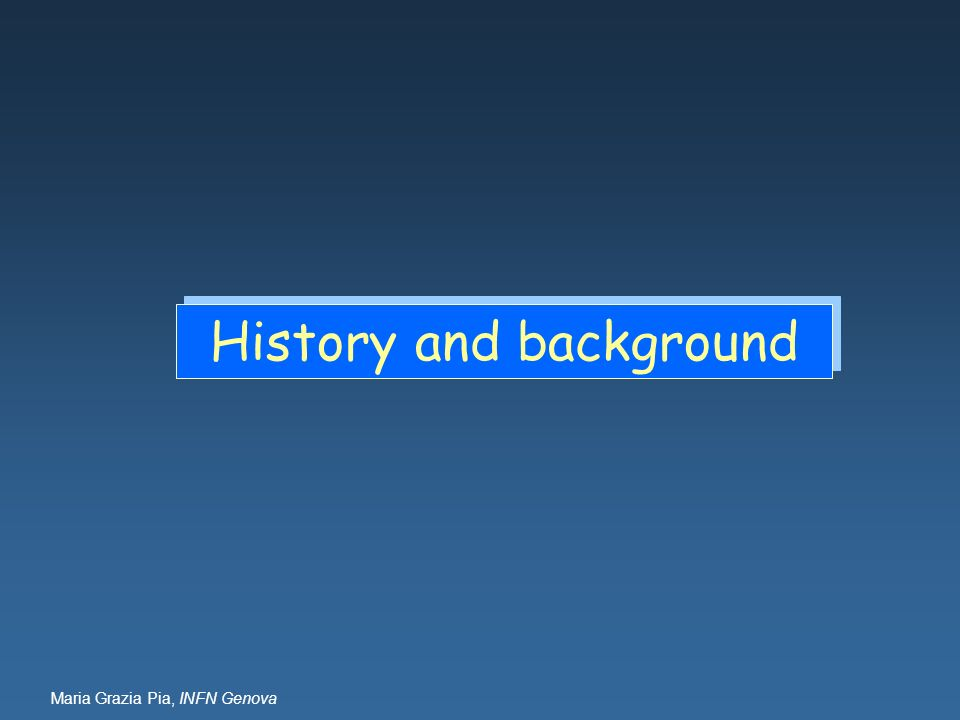 Maria Grazia Pia, INFN Genova History and background