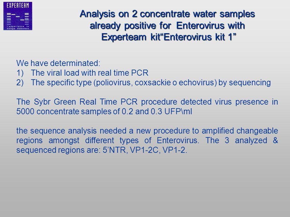 We have determinated: 1)The viral load with real time PCR 2)The specific type (poliovirus, coxsackie o echovirus) by sequencing The Sybr Green Real Time PCR procedure detected virus presence in 5000 concentrate samples of 0.2 and 0.3 UFP\ml the sequence analysis needed a new procedure to amplified changeable regions amongst different types of Enterovirus.