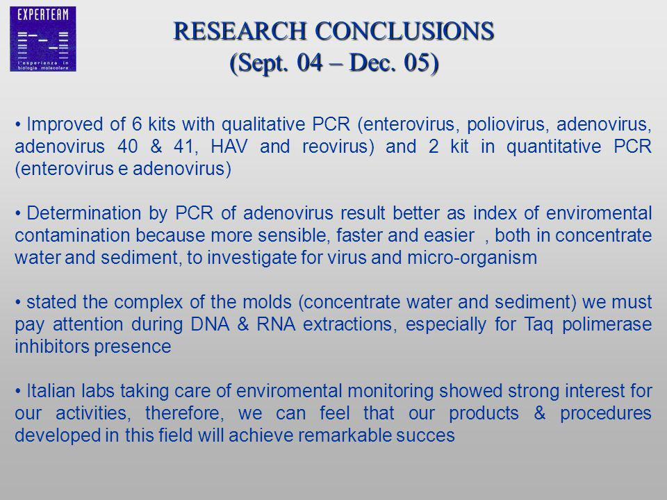 RESEARCH CONCLUSIONS (Sept. 04 – Dec. 05) Improved of 6 kits with qualitative PCR (enterovirus, poliovirus, adenovirus, adenovirus 40 & 41, HAV and re