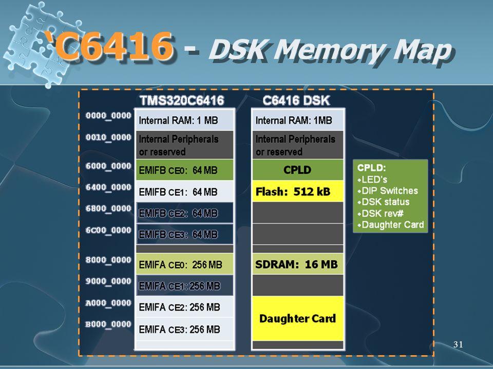 31 C6416 C6416 - DSK Memory Map