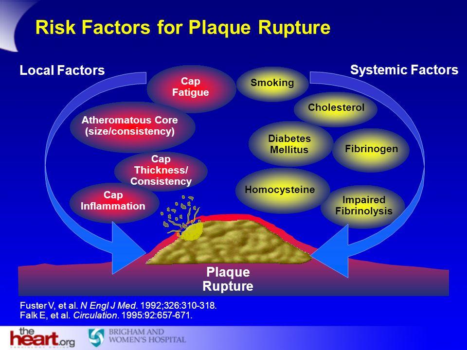 Risk Factors for Plaque Rupture Impaired Fibrinolysis Fibrinogen Diabetes Mellitus Cholesterol Smoking Cap Fatigue Atheromatous Core (size/consistency