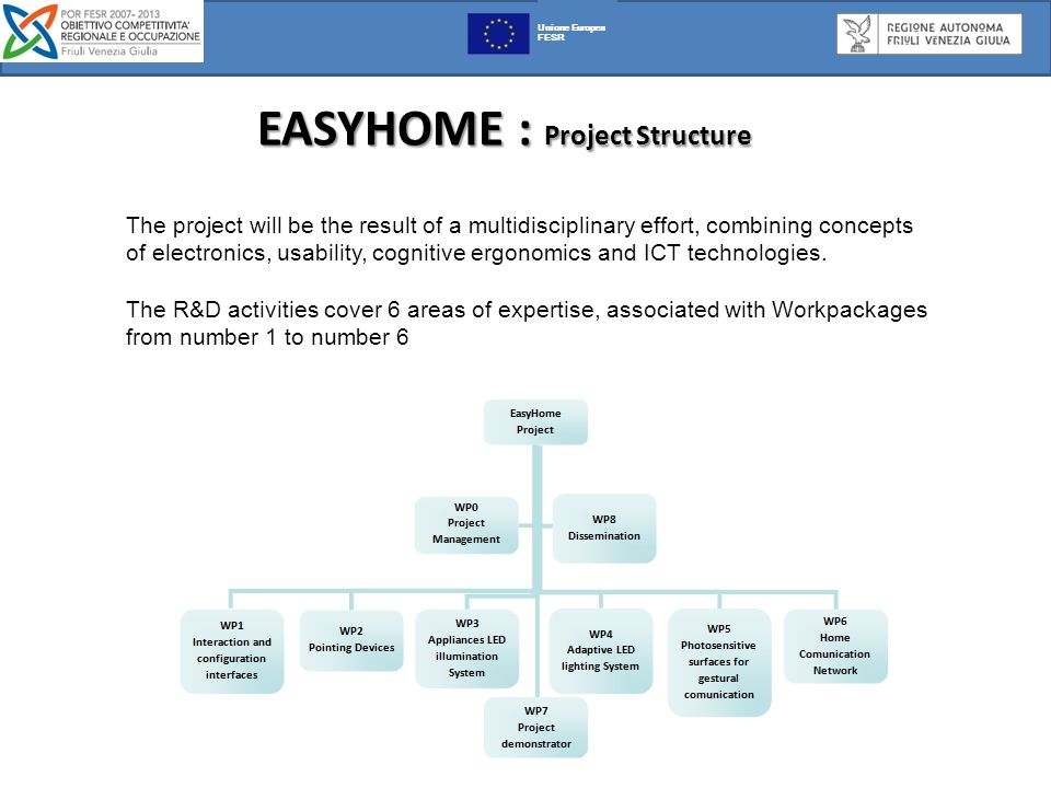 EASYHOME : Project Structure EASYHOME : Project Structure : Unione Europea FESR The project will be the result of a multidisciplinary effort, combining concepts of electronics, usability, cognitive ergonomics and ICT technologies.