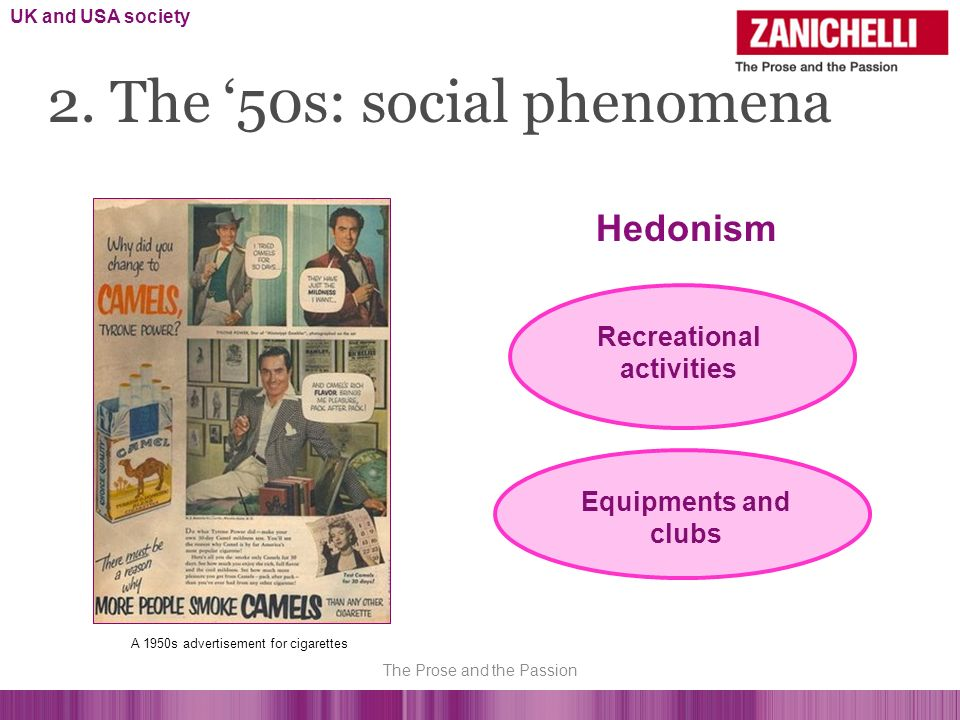 2. The 50s: social phenomena Hedonism Equipments and clubs A 1950s advertisement for cigarettes UK and USA society Recreational activities The Prose a
