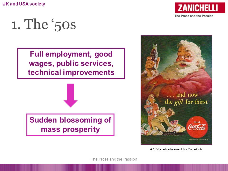 1. The 50s Full employment, good wages, public services, technical improvements Sudden blossoming of mass prosperity A 1950s advertisement for Coca-Co