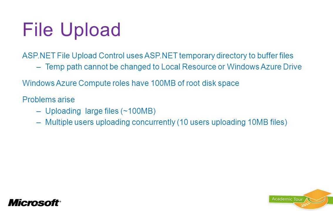 File Upload ASP.NET File Upload Control uses ASP.NET temporary directory to buffer files –Temp path cannot be changed to Local Resource or Windows Azu