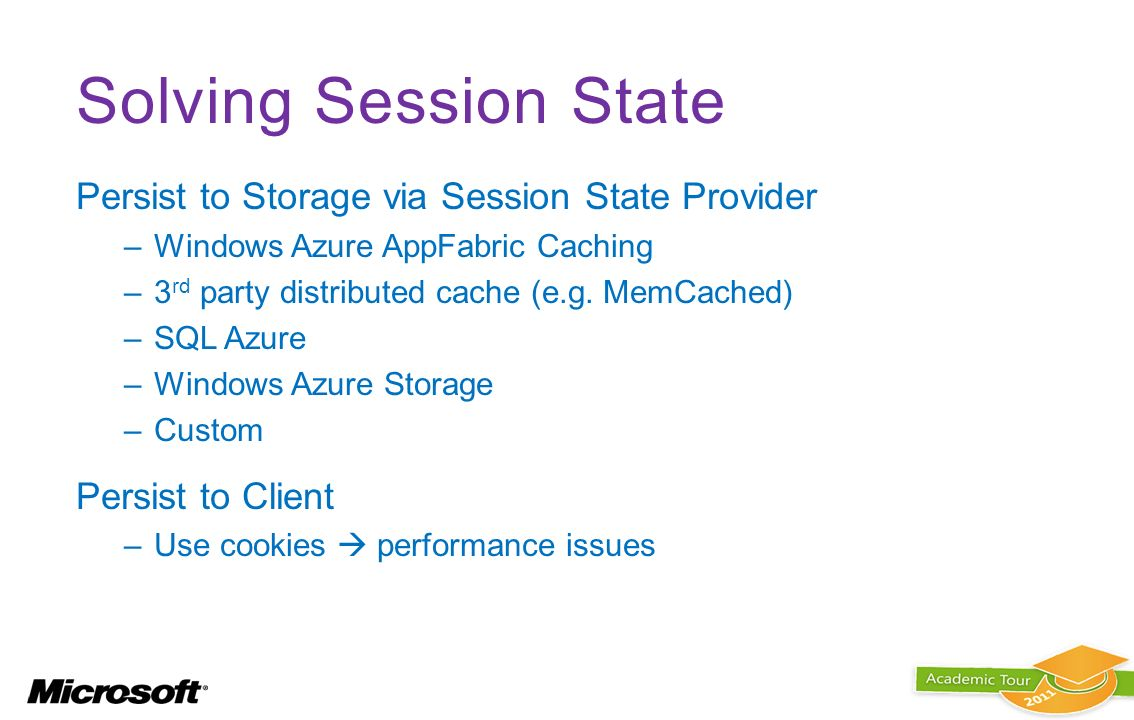 Solving Session State Persist to Storage via Session State Provider –Windows Azure AppFabric Caching –3 rd party distributed cache (e.g. MemCached) –S